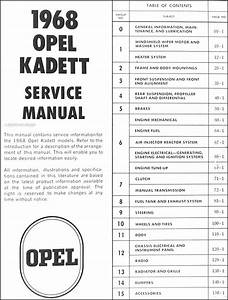 1968 Opel Kadett Repair Shop Manual Original