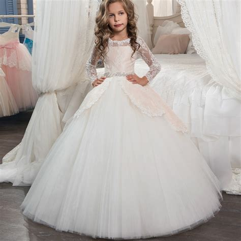 princess long sleeves lace holy communion dresses girls
