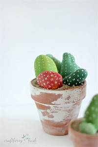 Painted rock cactus – a children's craft