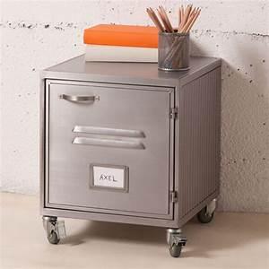 Petit Casier Metal : chevet caisson en m tal gris caisson 1 porte casier style ~ Teatrodelosmanantiales.com Idées de Décoration