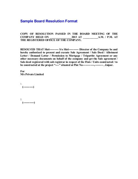 board resolutions template sle board resolution format