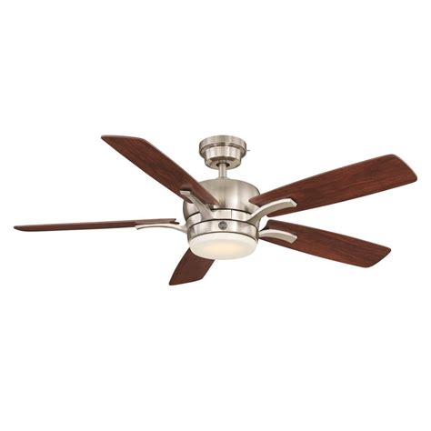 quick install ceiling fan ge adley 54 in led indoor brushed nickel ceiling fan with