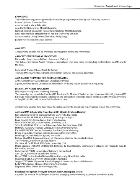 curriculum vitae for scholarship sle 28 images