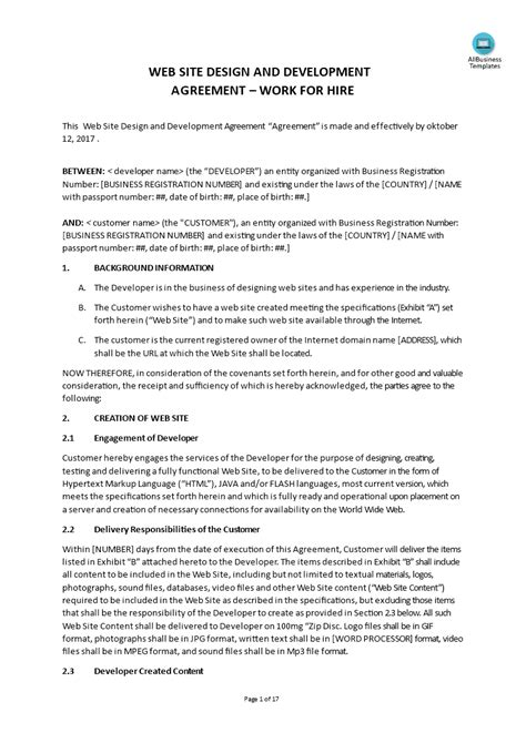 How to create a Website Design Agreement between a web designer and a customer? Download this