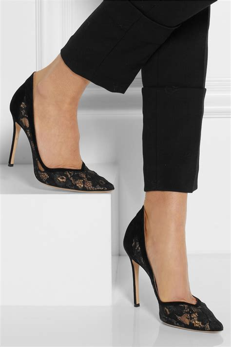gianvito rossi lace  suede pumps  black lyst