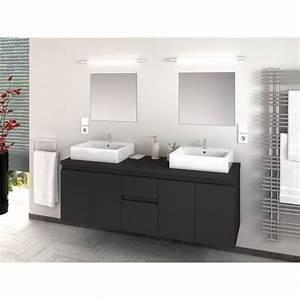Salle De Bain En L : cina ensemble salle de bain double vasque l 150 cm gris laqu mat achat vente salle de ~ Melissatoandfro.com Idées de Décoration