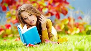 The girl on the grass reading a book wallpapers and images ...