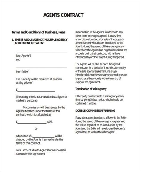 sample agency contract forms   word