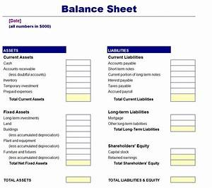 Simple balance sheet template free for Balance sheet template free