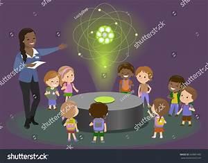 Hologram Carbon Atom Physics Teacher Black Stock Vector