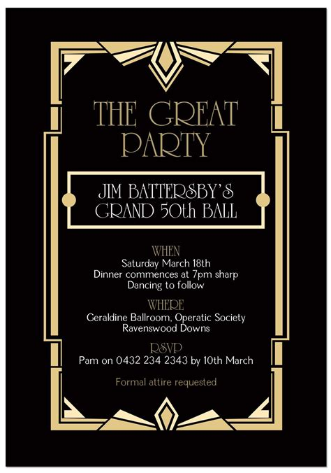 gatsby ball birthday invitations  images gatsby