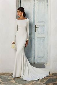 gorgeous long sleeve wedding dresses for winter brides With long sleek wedding dresses