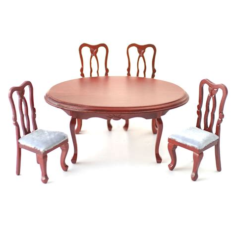 df103 1 12 scale oval dining table and four chairs