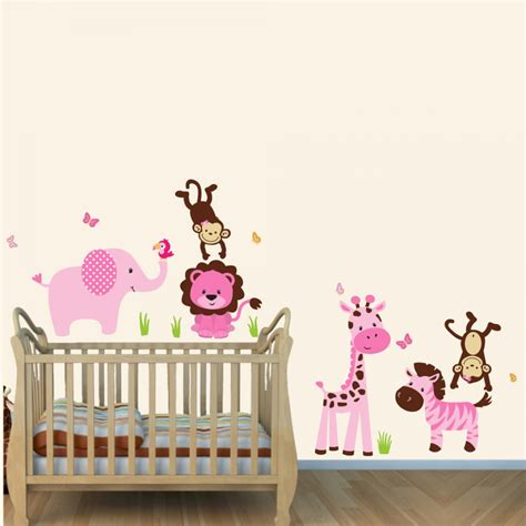 tree wall decor baby nursery pink and green jungle theme wall decals with wall