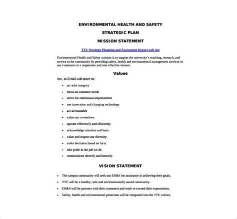 health  safety plan templates  sample