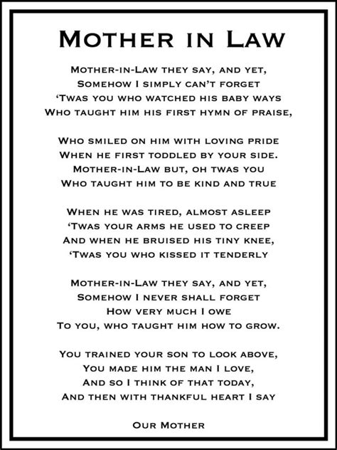 wedding day mother  law poem diy printable mother