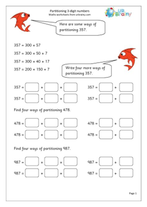 partitioning numbers worksheets ks2 year 3 partitioning 3 digit numbers urbrainy