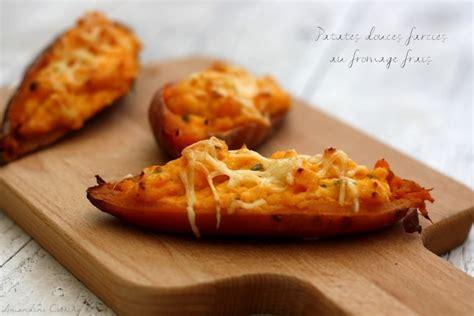 comment cuisiner les patates douces recettes recette de patates douces farcies au fromage frais échalote et ciboulette la recette facile
