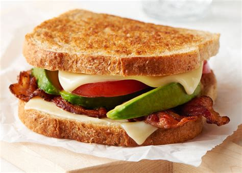 bacon avocado grilled cheese sandwiches recipe land