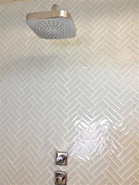 glass herringbone tiles contemporary bathroom mod walls