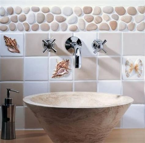 real sea shells  cover kitchen splashbacks bathroom