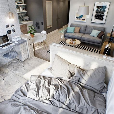 2 Simple Beautiful Studio Apartment Concepts For A Includes Floor Plans by Simple Small Studio Apartment In Open Plan Layout