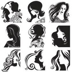 hair clip rambut 長い髪の女性のシルエット hair women fashion silhouette イラスト素材