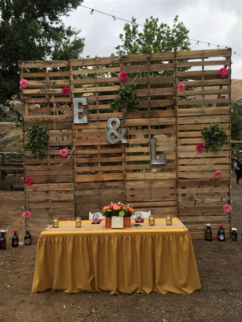 Main Table Pallet Wall Back Drop Wedding Diy Country