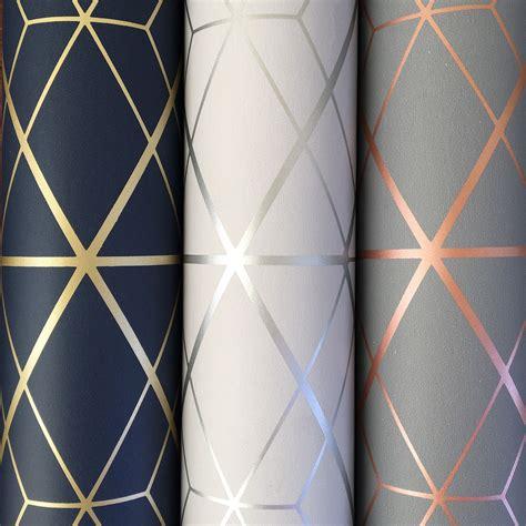 metro diamond geometric charcoal grey copper wallpaper