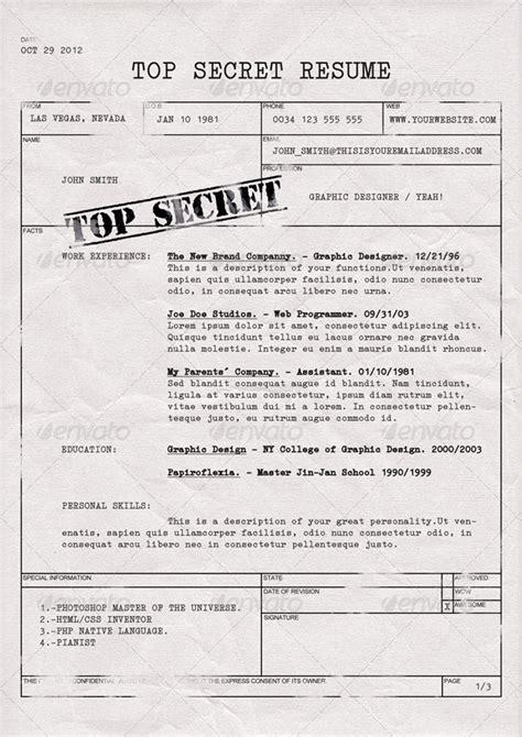 top secret resume cv  dengio graphicriver