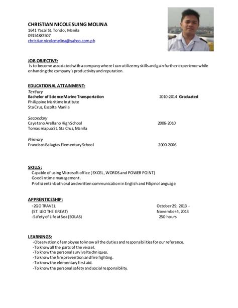 Christian Resume Objective Exles by Curriculum Vitae Christian Molina