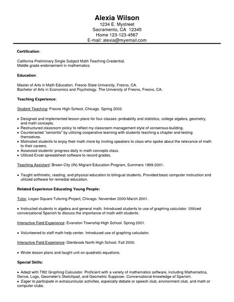Putting Tutor On Resume by Resume Exle Free Tutor Resume Sle How To