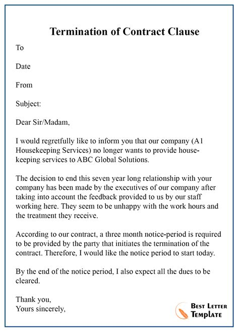 Cancellation Letter Template of Contract – Format, Sample & Example