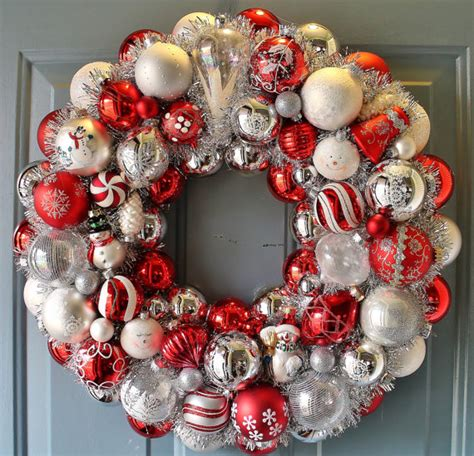ornament wreath ideas  pinterest christmas