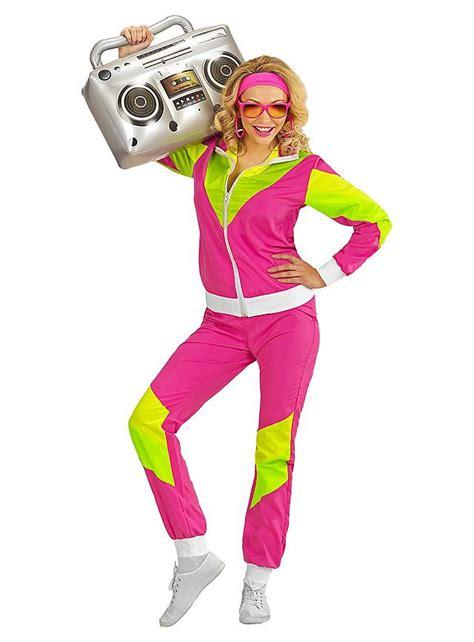 80er jahre trainingsanzug pink maskworld