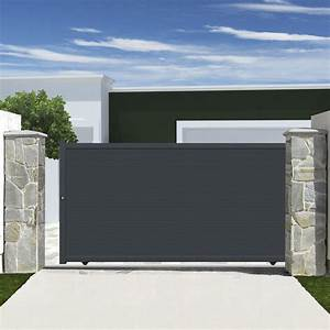 Portail En Aluminium : portail coulissant aluminium rioave gris cm x ~ Melissatoandfro.com Idées de Décoration