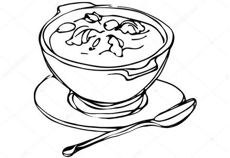 Kleurplaat Kom Soep by Bowl Of Soup With Herbs And Spoon Lying Next Stock