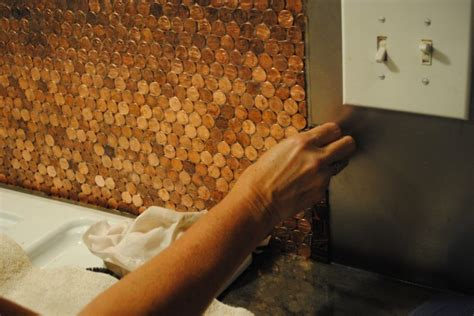 Copper Penny Backsplash Diy : After Soaking Old Pennies In Coca-cola, Her Kitchen Was
