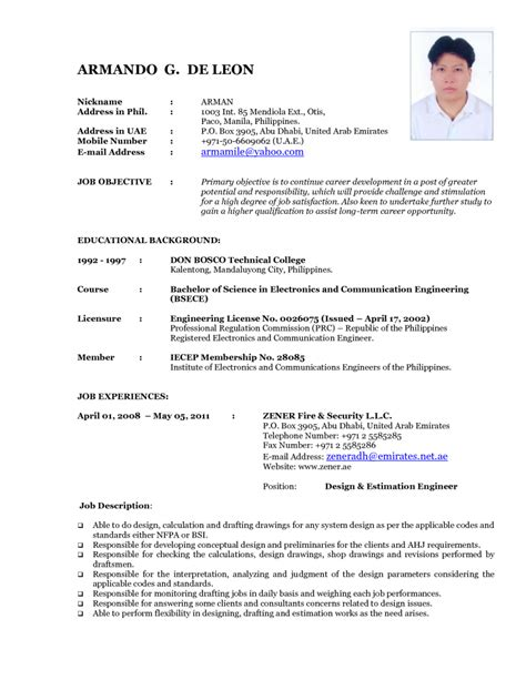 confortable resume sample format  seaman  updated