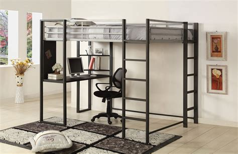 metal loft bed with desk under loft bed with desk designs features inoutinterior