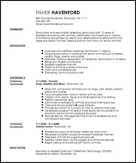 free professional veterinary technician resume template