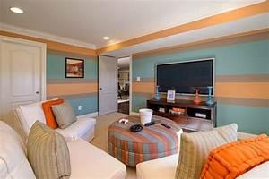 Wandgestaltung Wohnzimmer Streifen : streifen in blau orange und taupe im wohnzimmer kinderzimmer gestaltung farben ~ Orissabook.com Haus und Dekorationen