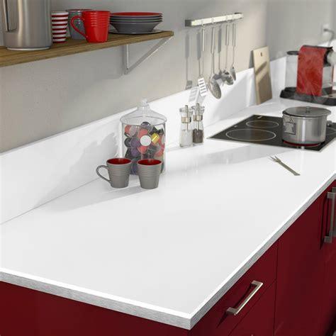 plan de travail cuisine blanc laqué plan de travail stratifié blanc brillant l 315 x p 65 cm l