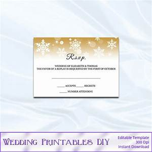 rsvp template diy gold snowflake wedding enclosure card With printable wedding invitations inserts