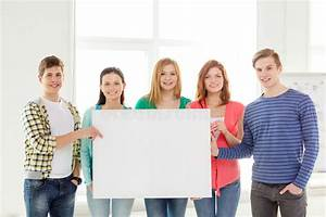 Students At School Holding White Blank Board Stock Photo ...