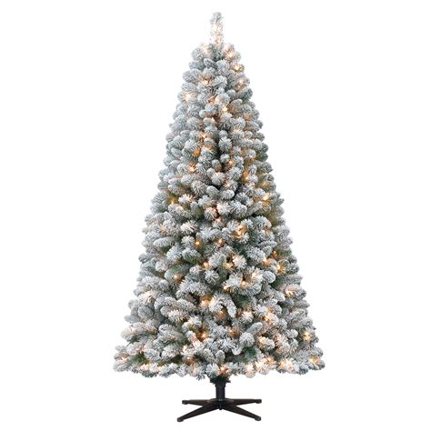 11ft pre lit artificial christmas 6 5 ft pre lit flocked pine artificial tree stand mini clear lights 781861515499 ebay