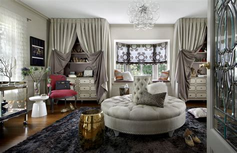 Dazzling round tufted ottoman in Closet Contemporary with