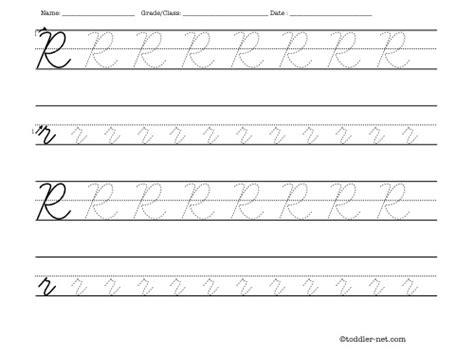 tracing worksheet cursive letter r