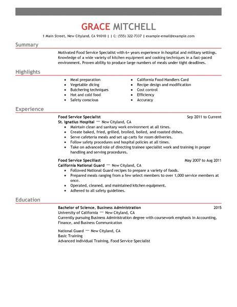 simple food service specialist resume exle livecareer