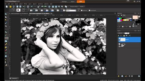 adding black to a color adding color to a black and white photo in paintshop pro